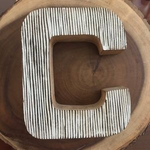 Wooden Letter C Ribbed Texture